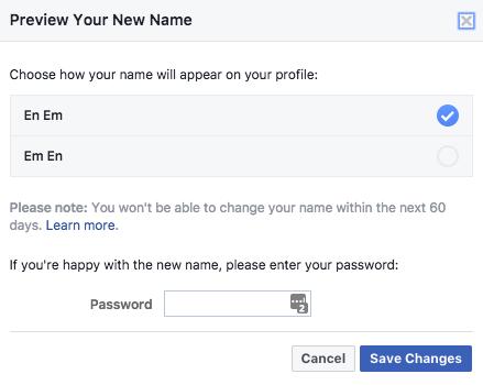 تغيير اسم بروفايل فيس بوك