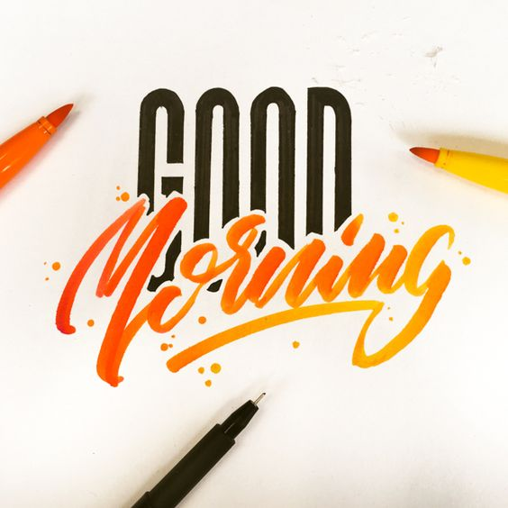 صباح الخير بالانجليزية مع خربشات أقلام