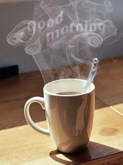 صباح الخير بالانجليزية مع دخان القهوة