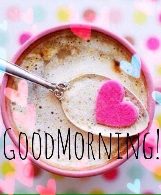 صباح الخير بالانجليزية مع قلب وردي للبنات