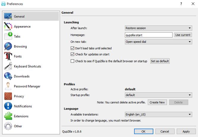 qupzilla- أفضل متصفحات ويب مفتوحة المصدر