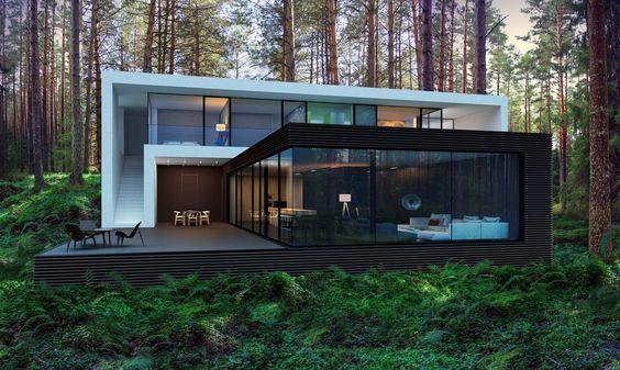 تصميم فيلا مودرن فخم في الغابات