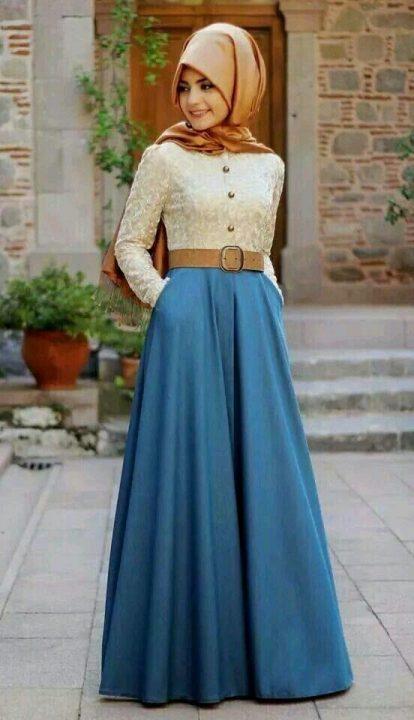 جيبة جميلة جداً باللون الأزرق تصلح للخروج والفسح